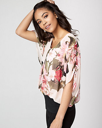 Floral Chiffon Scoop Neck Poncho Blouse
