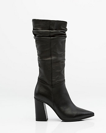 Italian-Made Ruched Leather Boot