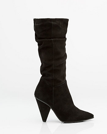 Italian-Made Ruched Suede Boot