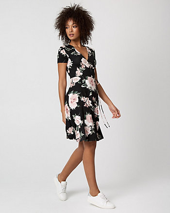 Floral Print Jersey Knit Wrap-Like Dress