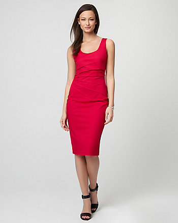 Cotton Twill Scoop Neck Dress