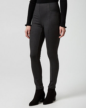 Check Print Ponte Skinny Leg Pant