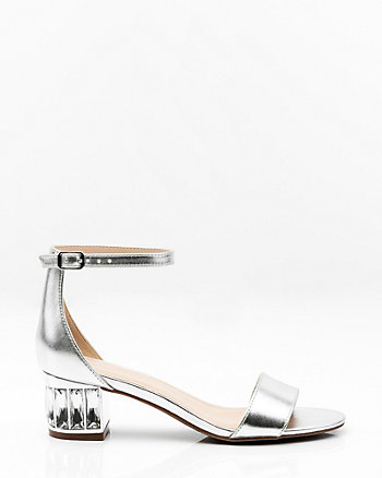 Metallic Embellished Block Heel Sandal