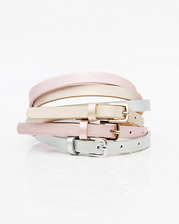 Set of Three Metallic Faux Leather Belts