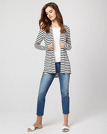 Stripe Knit Open-Front Cardigan