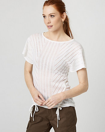Open-Stitch Drawstring Sweater