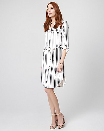 Stripe Stretch Twill V-Neck Shirtdress