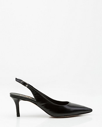 Italian-Made Leather Pointy Toe Slingback