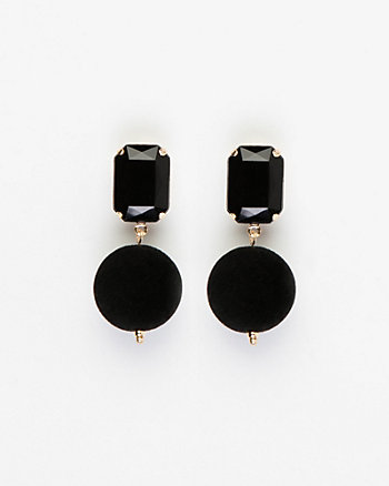 Gem & Velvet Ball Drop Earrings