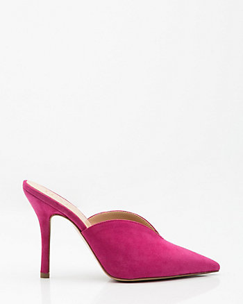 Italian-Made Suede Pointy Toe Mule
