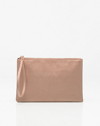 Metallic Leather-Like Cosmetic Pouch