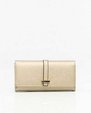Metallic Wallet with Crossbody Strap
