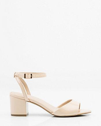 Sandale à bride de cheville et fini verni