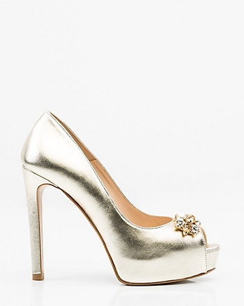 Italian-Made Jewelled Leather Pump