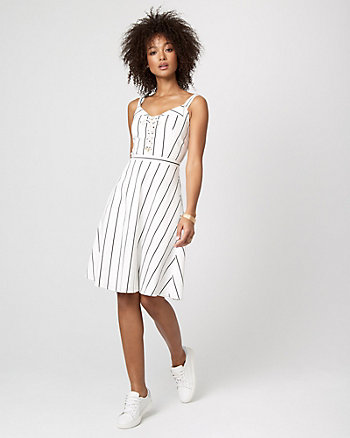 Stripe Cotton Sateen Fit & Flare Dress