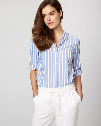 Stripe Challis Button-Front Blouse