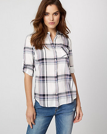 Check Challis Button-Front Blouse