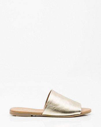 Leather Single Band Slide Sandal