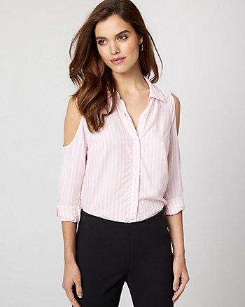 Stripe Challis Cold Shoulder Shirt