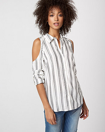 Stripe Challis Cold Shoulder Shirt