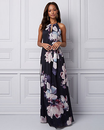 Floral Print Knit Halter Gown
