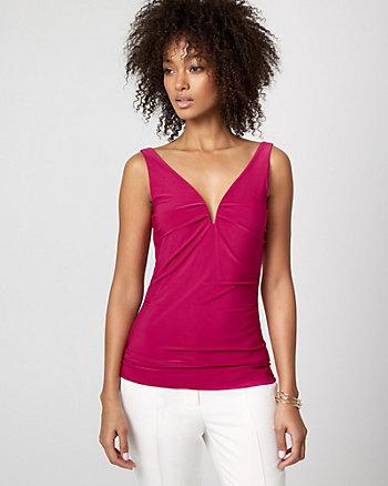 Knit Deep V-Neck Sleeveless Top