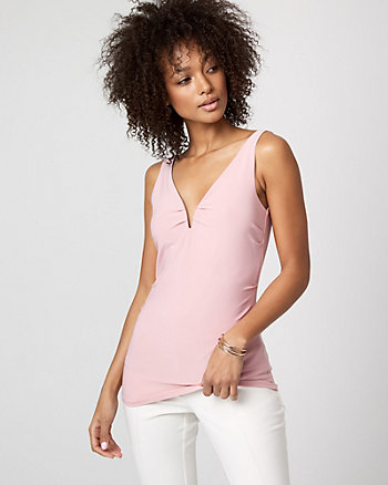 Knit Deep V-Neck Sleeveless Top