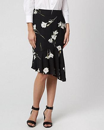 Floral Print Asymmetrical Ruffle Skirt
