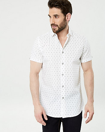 Boat Print Stretch Cotton Slim Fit Shirt