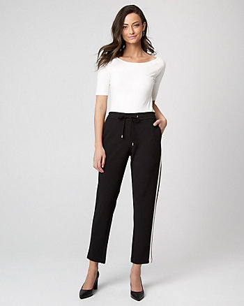 Side Stripe Knit Crêpe Drawstring Track Pant