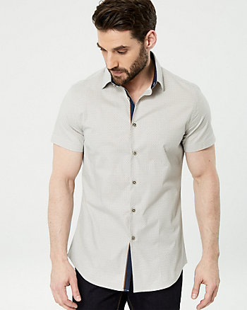 Geo Print Stretch Poplin Athletic Fit Shirt