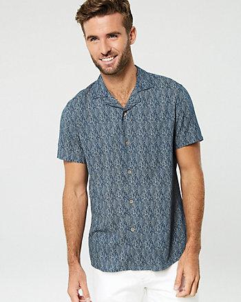 Leaf Print Viscose Slim Fit Shirt