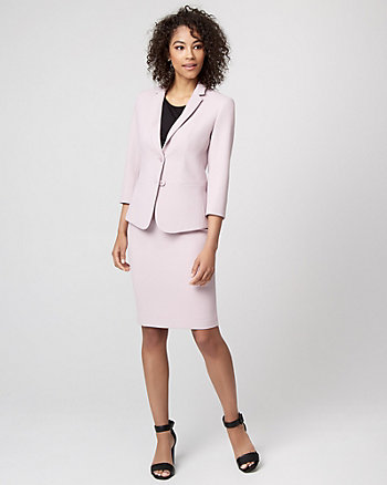 Piqué Notch Collar Blazer
