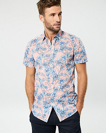 Floral Print Cotton Voile Slim Fit Shirt