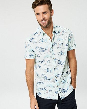 Chemise à motif de palmiers en coton