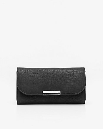Faux Leather Wallet with Crossbody Strap