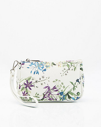 Floral Print Leather-Like Cosmetics Pouch