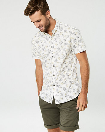 Palm Tree Cotton Slim Fit Shirt
