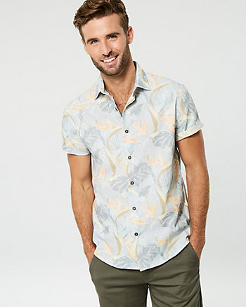 Bird of Paradise Print Cotton Shirt