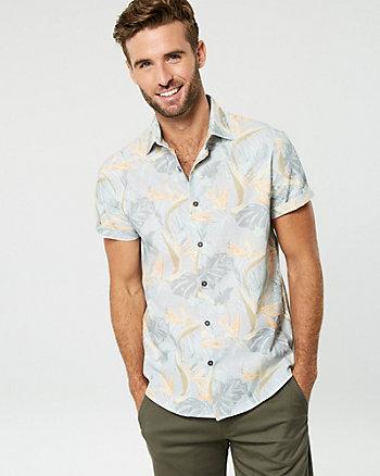 Bird of Paradise Print Cotton Shirt