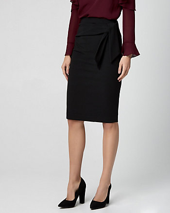 Knotted Knit Crêpe Pencil Skirt
