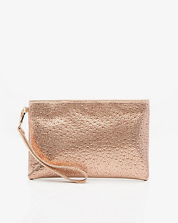Jewel Embellished Faux Leather Pouch