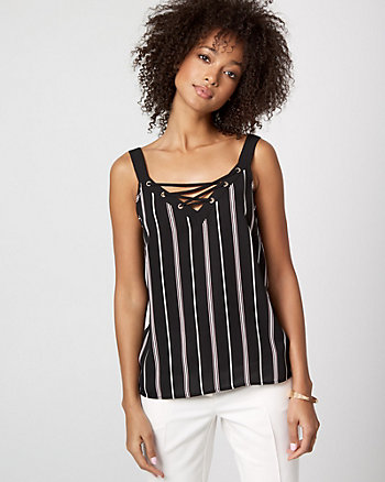 Stripe Crêpe de Chine Lace-Up Cami
