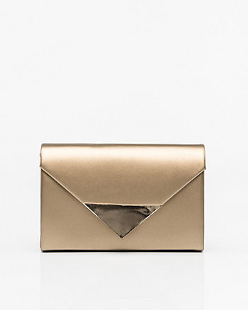 Metallic Faux Leather Envelope Clutch