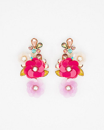 Floral Sequin & Gem Earrings