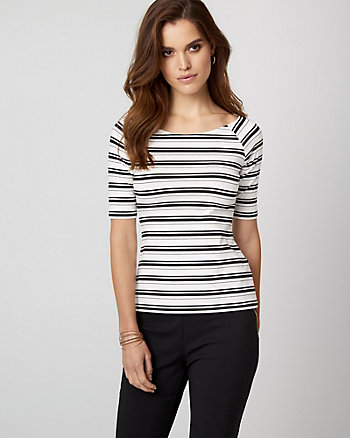 Stripe Jersey Knit Boat Neck Top