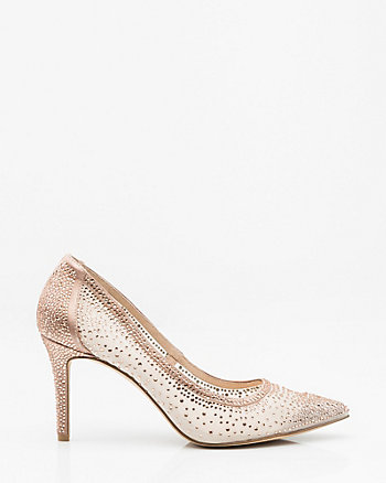 Jewel Embellished Mesh Pointy Toe Pump