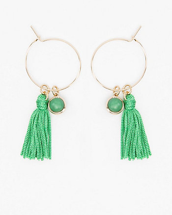 Tassel & Stone Hoop Earrings