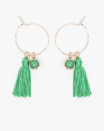 Tassel & Stone Hoop Earrings
