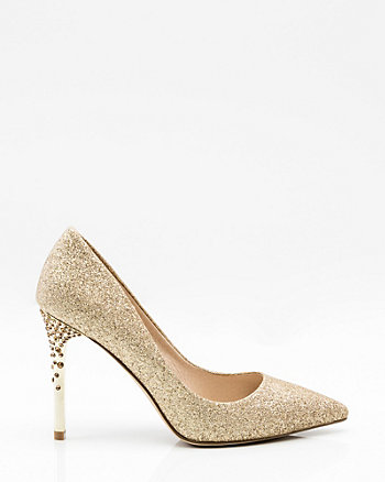 Jewel Embellished Glitter Pointy Toe Pump